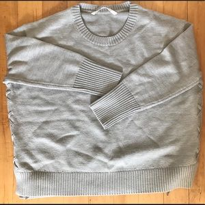 New Athleta Grey Knit Sweater tie-up sides